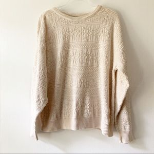 Jantzen Cream Crew Neck Patterned Sweater Large